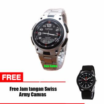 Jam Tangan Pria - Fortuner J-377 Japan - Silver - Stainless Steel - Free Jam Tangan Swiss Army Canvas