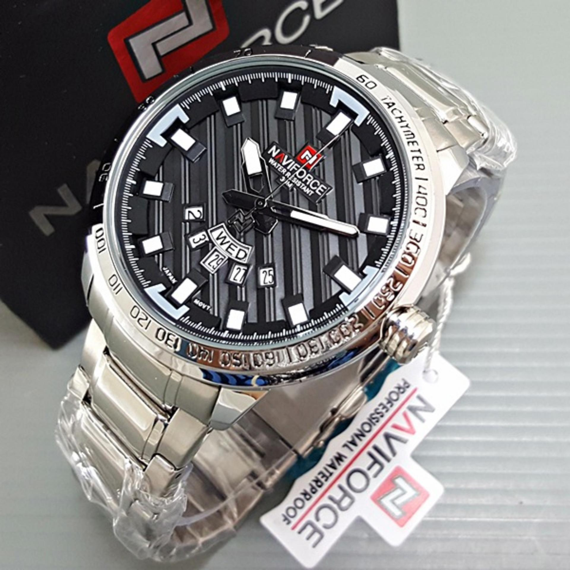 Naviforce Nf 9068 Jam Tangan Kasual Pria Leather Strap Spec Dan Ts 165 Hitam List Coklat