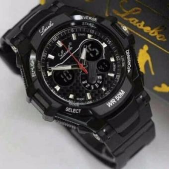 Jam Tangan Sport Pria - Lasebo Dual Time - Rubber Strap