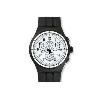 Jam Tangan SWATCH ORIGINAL 100% YOB403 CHRONO AGAIN_Black & White