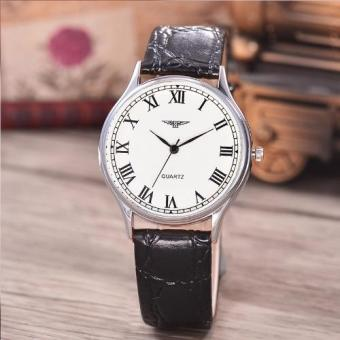 Jam Tangan Unisex - Body Silver-White Dial-Black Leather Strap-AC-