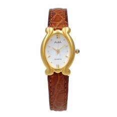 Jam Tangan Wanita - Brown Gold White - Leather Strap - ATCY12