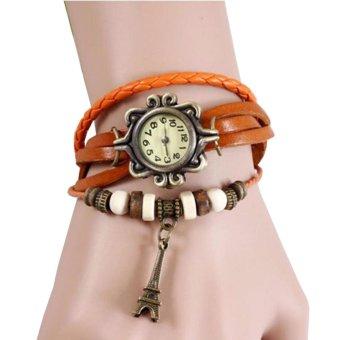 Harga Jam Tangan Wanita Fashion Leather Strap Lilit Gelang - Orange ... 60593de7dc