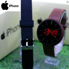 Jam Tangan Wanita MAG IPHONE PAKET BLACK LEATHER LED MAG025 FREE RUBBER .