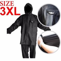 Jas Hujan ASV Versi 1 Kualitas No.1 Karet PVC Full Rubber Tebal Sistem Press Original Waterproof Raincoat ASV - Hitam Ukuran XXXL / 3XL