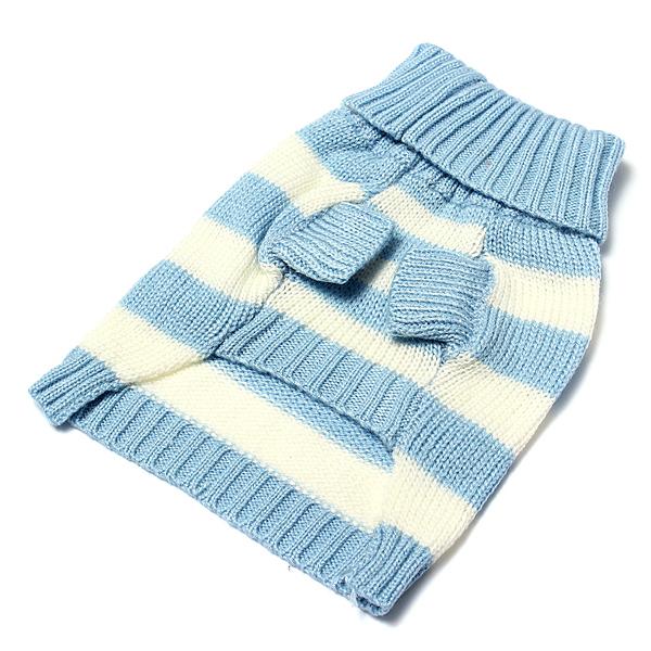 ... Jumper Pakaian Rajut Sweater Hangat Berkerah Tinggi Untuk Anak Anjing Dengan Garis-garis Lucu Anjing ...