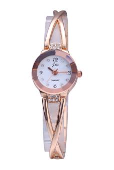 harga JW-954 Merek Mawar Emas Perhiasan Gelang Kristal Kuarsa Gaun Wrap Jam Tangan (Putih) Lazada.co.id