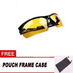 Kacamata Anti Silau / Night Driving Sun Glasses / Riding Glasses Kacamata Motor Kaca Mata Motor Bike Motorcycle Night Glasses - Sport Edition Free Pouch - Orange