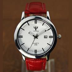 Klasik Wanita Kulit Band Fashion Joker Bussiness Quartz Wrist Watch Yzl298 - Merah - Intl YAZOLE