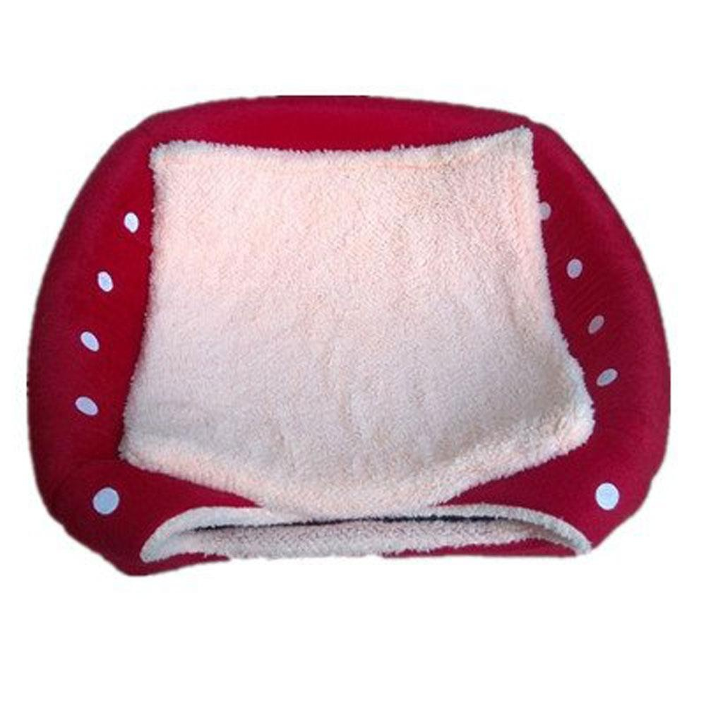 koklopo Strawberry Pet Cat Dog House Bed With Warm Plush Pad(Red,M) - intl