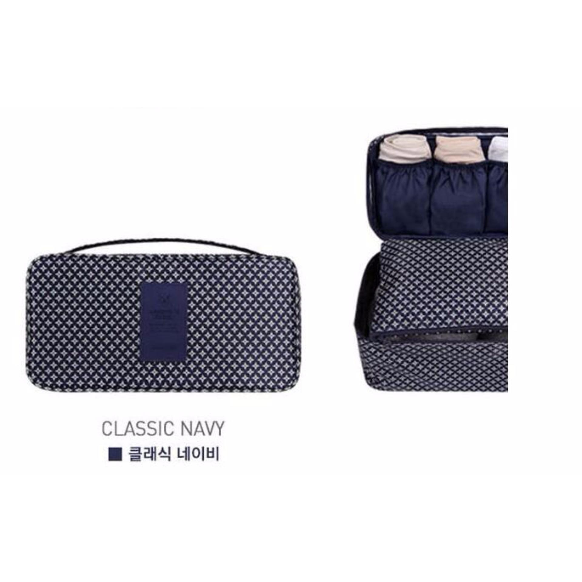... Korean TRAVEL UNDERWEAR pouch / organizer / multi-purpose bag - BIRU NAVY