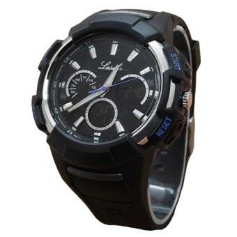 Lasebo Dual Time - Jam Tangan Pria - Rubber Strap - LSB 922PW Black Lis Blue