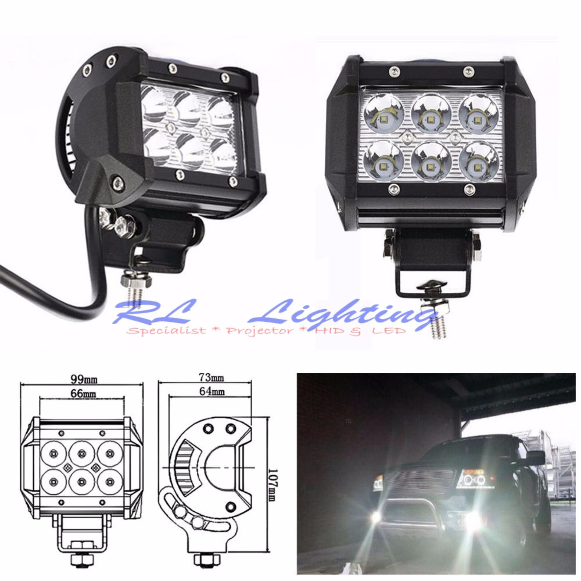 LED Lampu Tembak Sorot Worklight Cree Led Spot 6 Mata 18 Watt -