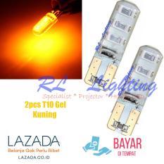 Led T10 Senja 6Led Gel Waterproof Jelly Silicone Super Bright 2pcs Kuning .