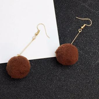 LRC Anting Elegant Fuzzy Ball Pendant Decorated Pure Color Simple Earrings. >>>>
