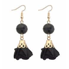 Lrc Anting Gantung Fashion Black Fan Shape Decorated Hollow Out Source · LRC Anting Fashion Black