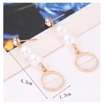 Detail Gambar LRC Anting Tusuk Fashion Diamond&pearl Decorated Earrings Terbaru