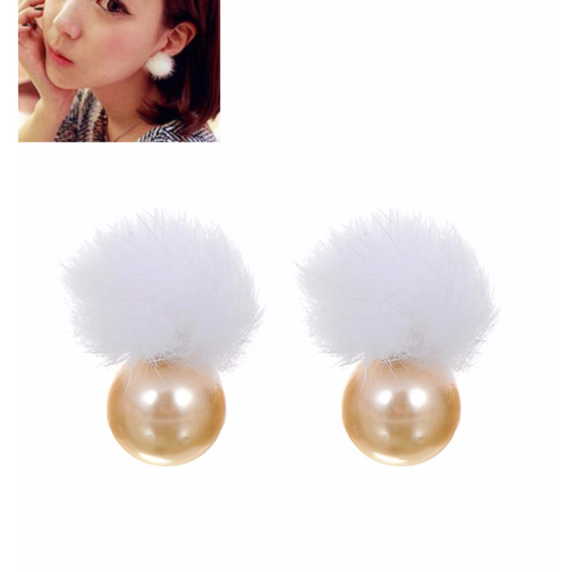 ... Black Source · LRC Anting Tusuk Lovely Yellow k Fuzzy Ball Decorated Earrings