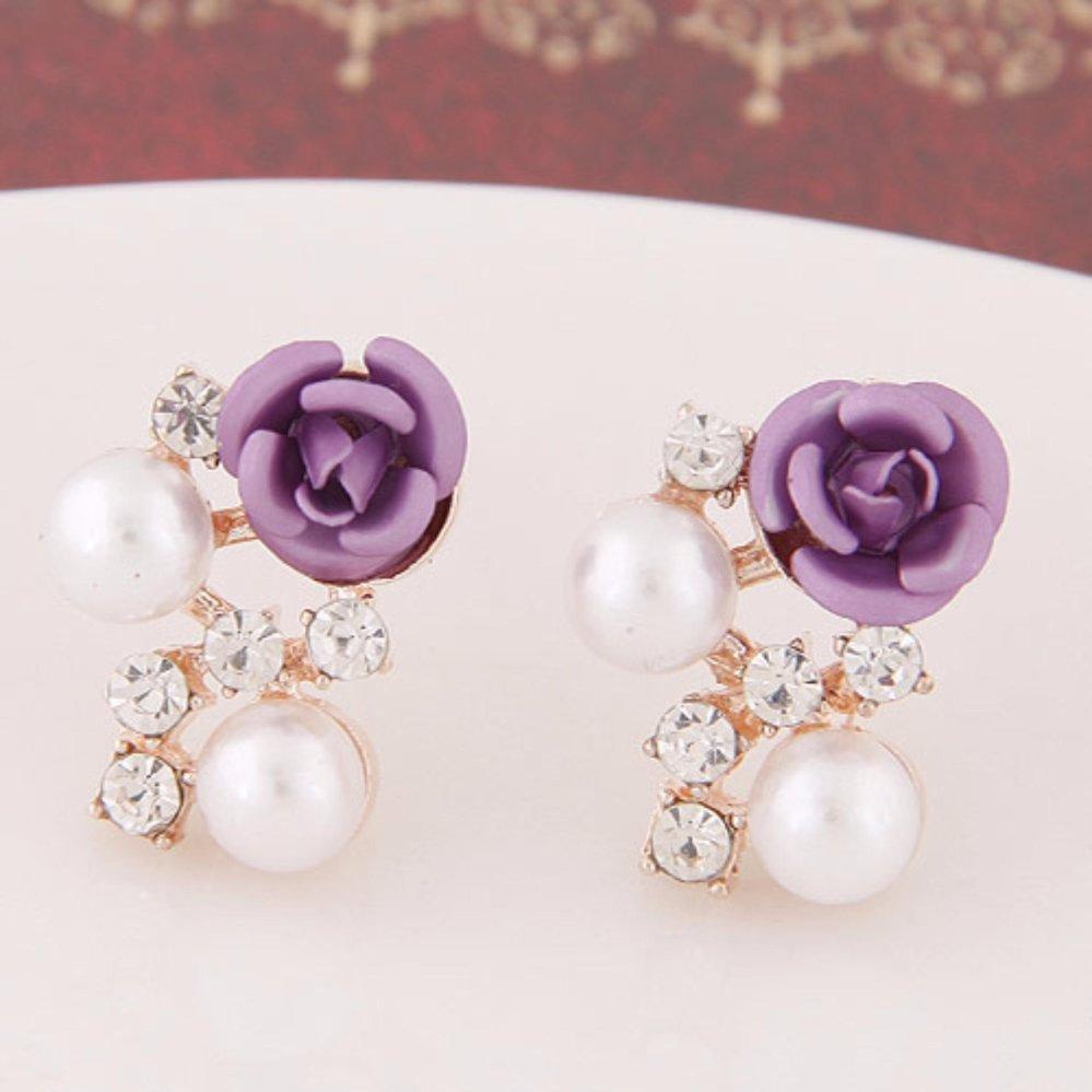 ... LRC Anting Wanita Sweet Purple Diamond&rose Flower Decorated Simple Design Alloy Stud Earrings ...