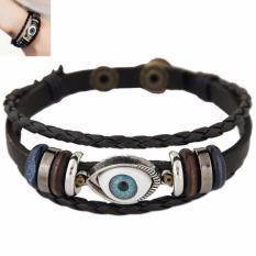 LRC Gelang Tangan Pria Fashion Black Eye&hollow Out Round Shape Decorated Multi-layer Bracelet