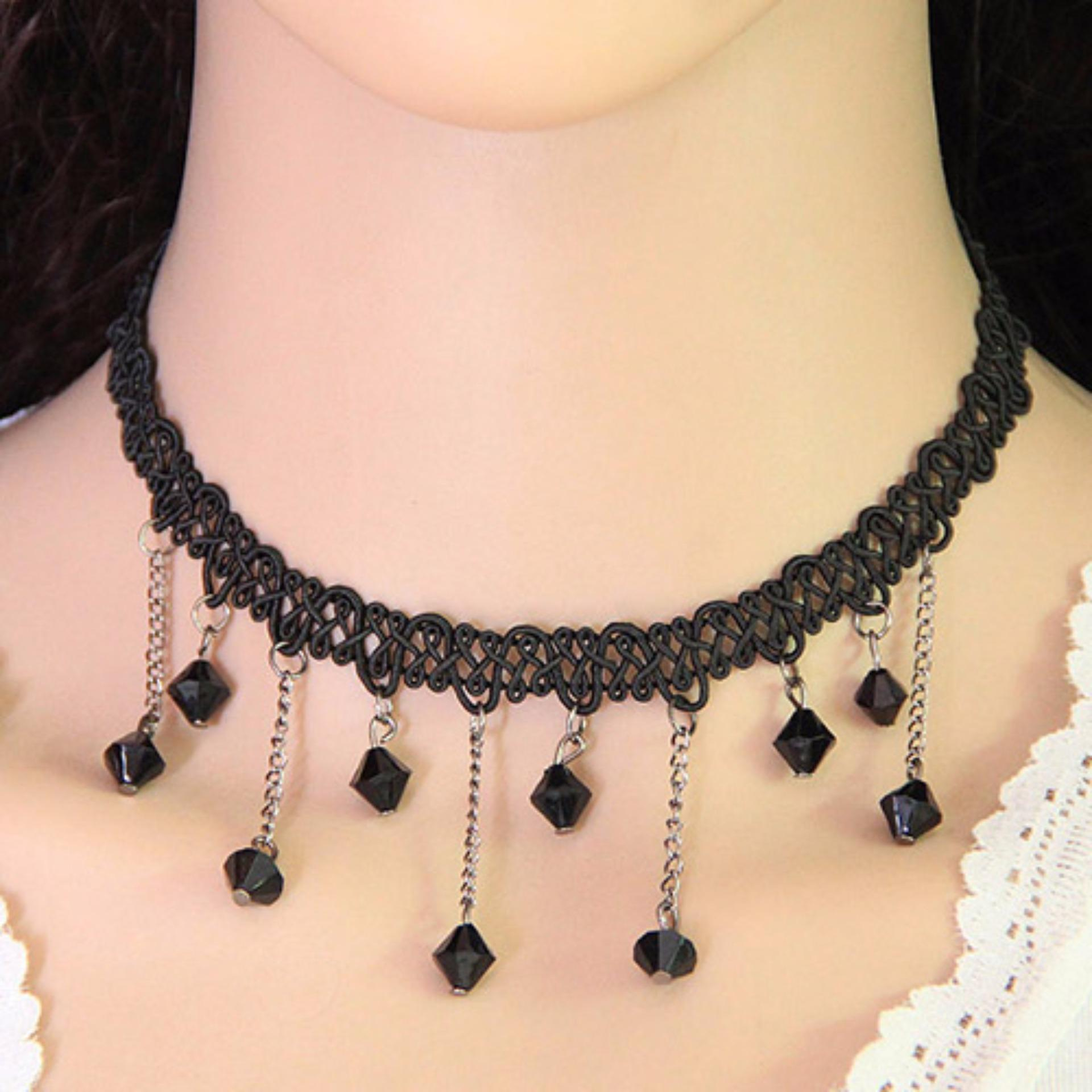 ... Hand Woven Simple Source · LRC Kalung Wanita Elegant Black Beads Tassel Pendant Decorated Weaving Chain Design