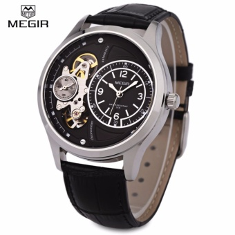 MEGIR 2017G Men Mechanical Watch with Two Working Sub-dials 30MWater Resistance Leather Strap Wristwatch - intl