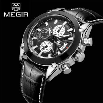 Megir 2020G Chronograph Jam Tangan Olahraga Pria Jam kuarsapria jam tangan kulit kasual kuarsa Jam tangan pria tahan air 3ATM