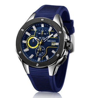 MEGIR Brand Quartz Men Watch Clock Relogio Masculino Luxury Chronograph Silicone Army Military Sport Watches Mens Saat Erkekler MN2053G - intl