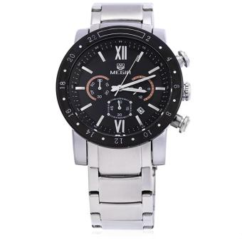 MEGIR Jam Tangan Pria 30M Water Resistance Quartz Watch with Date Display Luminous Pointer Stainless Steel Band MS 3008 G-1 - Black Silver