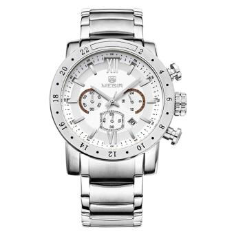 MEGIR Jam Tangan Pria 30M Water Resistance Quartz with Date Display Luminous Pointer Stainless Steel Band MS 3008 G-7 - White Silver