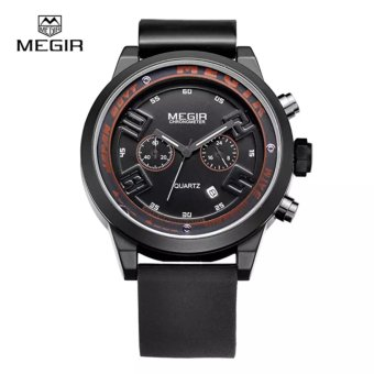 MEGIR Jam Tangan Pria Sport Personality Waterproof Fashion Movement MN 2001 G/BK-1 - Black