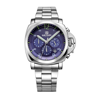MEGIR Luxury Stainless Steel Watchband 3ATM Water Resistant Wristwatch Noctilucent Quartz Men Watch with Calendar