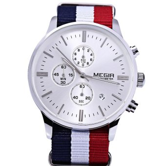 Megir M2011 Male Quartz Watch Three Working Sub-dials Sport Wristwatch (#1) - intl