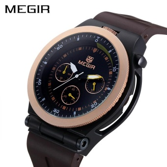 MEGIR Original Sport Men Watches Chronograph Rubber Strap Creative Quartz Watch Luminous Wristwatches Sport Clock Relogio Femin - intl