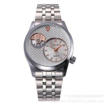 Men Brand Stainless Steel Quartz Watch White Dial - intl