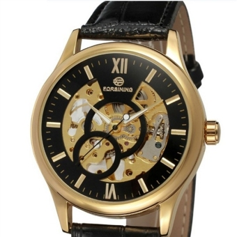 Men Hollow Style Manual Mechanical Watch with PU Band (Black/Golden)