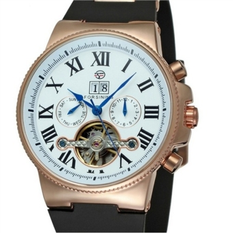 Men Tourbillon Automatic Mechanical Wrist Watch with Rubber Band (White/Rose Gold)