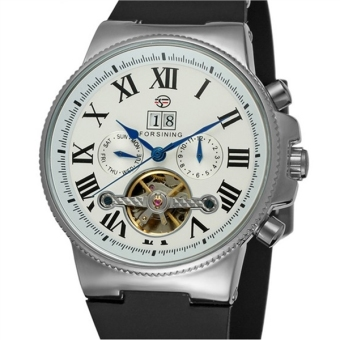 Men Tourbillon Automatic Mechanical Wrist Watch with Rubber Band (White/Silver)