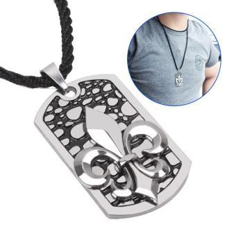 Men's Necklace Titanium Steel Leather Necklace - intl