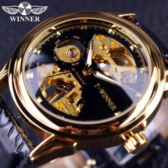 Mens Watches 2016 Black Golden New Design Top Brand Luxury Watch Men Half Skeleton Watch Clock Men Casual Fashion Watches - intl