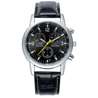 Mens Watches Fashion Business Quartz Watches Waterproof Wristwatch Metal Alloy Leather Strap Watches - Black - intl