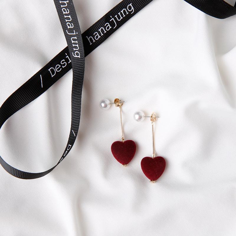 Merah style cinta pompon mutiara anting