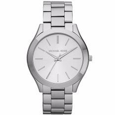 Michael Kors MK3178 42mm Jam Tangan Pria Wanita Slim Runway Silver Unisex Men Women Ladies Watch - Silver