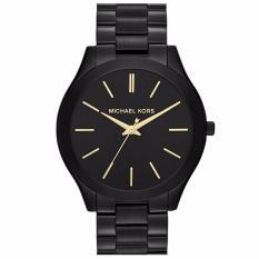 Michael Kors MK3221 42mm Jam Tangan Pria Wanita Slim Runway Black Dial Black Ion-Plated Unisex Men Women Watch - Black