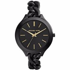Michael Kors MK3317 42mm Jam Tangan Wanita Slim Runway With Gold-Tone Stick Markers Women Ladies Watch - Black
