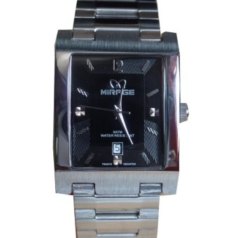 Mirage Classic Jam Tangan Pria - Silver Hitam - Stainless Steel - MG 3311