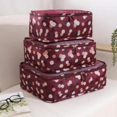 model tas travel bag  tas pakaian jinjing travel bag terbaru Traveling Bag - Bag In Bag Korean Bag In Bag Korean Bag In Bag Organizer Travel Bag In Bag Bag In Bags Dual Bag In Bag Maroon Flower 1 set isi 6 pcs