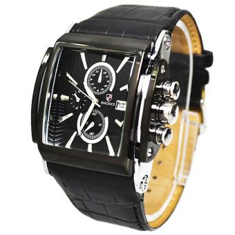 moob Brand Luxury BADACE Fashion watch men Leather StrapWristwatches Men sports Military cuasual Quartz Watch relogiomasculino (Black)