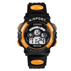 Multifungsi Tahan Air Olahraga Elektronik Anak Watches (Orange)-Intl