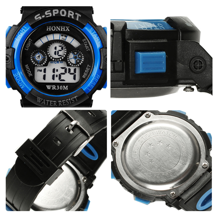Multifungsi Tahan Air Olahraga Elektronik Jam Tangan Anak (biru)- International